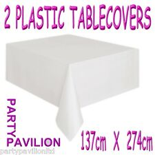 2 White Plastic Rectangular Wedding / Christening Party Table Cloths Covers