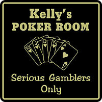 Personalized Poker Game Room Bar Beer Cards Holdem Gift Sign #4 Custom USA Made
