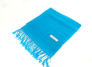 Echarpe etole chale cheche foulard 180x72 cm nepal coton-viscose bleu 9168