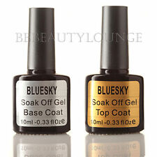 Bluesky Nail Polish Top & Base Coat Set UV/LED soak off gel free postage