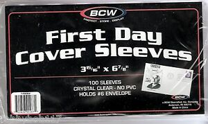 "PACK 100 FIRST DAY COVER SLEEVES Protectors Holds #6 Envelope 3 15/16"" x 6 7/8"""