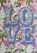 Love Letters Flowers Purple Blossoms Girl Wall Decor Pink Floral Art on Canvas