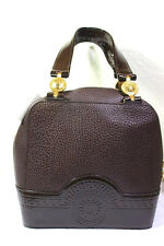 Vinatage Gianni VERSACE Chocolate Brown Leather Small Tote Hand Bag Bag