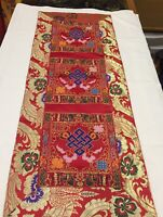 Tibetan Red endless knot silk brocade table runner / shrine cover /altar cloth