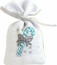 14ct Cross Stitch Kit - Luca-S - Christmas Candy Cane Silver Bag kit -11 x 7 cm