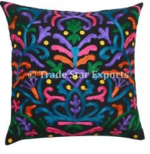 "Suzani Embroidered Cushion Cover Indian Vintage 16"" Decorative Boho Pillow Case"