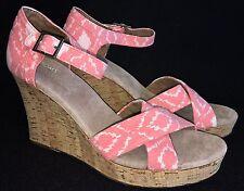 Toms Sierra Strappy Platform Cork Wedge Sandal Geometric Ikat Coral Sandals Pink