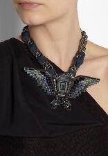LANVIN Swarovski Crystal Embellished BLUE EAGLE Necklace, Choker, BOX