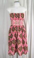 PLENTY Tracy Reese Sz 6 Anthropologie Pink IKAT Strapless Fit & Flare Dress