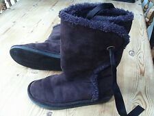 Girls brown suede fleecy lined boots - size 1 - Lands End label