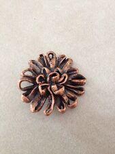Vintage Mid Century Copper Floral Ribbon Shape Metal Shank Button 3.5cm