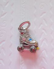 Brighton Roller Skate Charm-silver-multi color heart-movable wheels-great detail