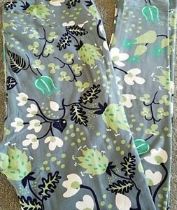 NWOT LuLaRoe TC Leggings Whimsical Sage Floral White Lime Green Navy-Black Gray