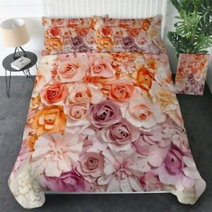 3D Pink Floral Flower Rose King Queen Twin Quilt Duvet Pillow Cover Bed Set