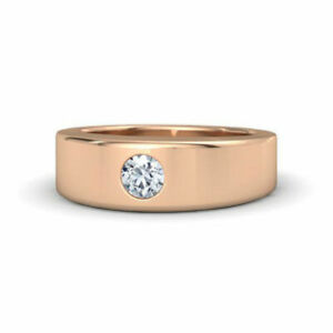 0.30 Ct Natural Diamond Engagement Ring 14K Solid Rose Gold Mens Band Size S T V