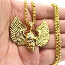 MENDEL Gothic Mens Biker Winged Gold Skull Wing Pendant Necklace Stainless Steel