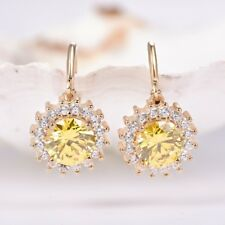 Lady Party Round Yellow Cubic Zirconia Gemstone Yellow Gold Dangle Earrings 0.6""