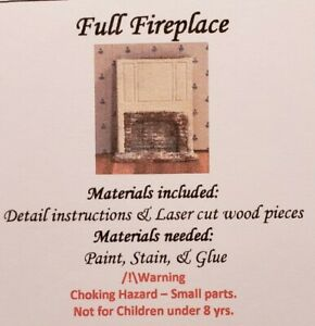 Dollhouse Miniature 1:144 Scale Full Wood and Brick Fireplace KIT
