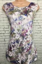 NEW NEXT 10 White Multi Foil Print Sleeveless Crinkle Plisse Long Tunic Vest Top