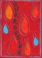Original ACEO Drawing by Jay Snelling. Outsider Art Brut. Unarousing. Water