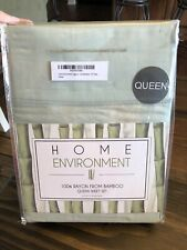 NWT Home Environment 100% Rayon From Bamboo Queen Sheet Set Sage 4 Pc