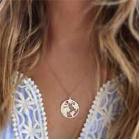 World Map Pendant Necklace Round Hollow Charm Collar Women Fashion Jewelry OO