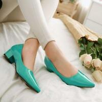 Women Candy Pointy Toe Slip On Loafers Low Chunky Heel Patent Leather Pumps Shoe