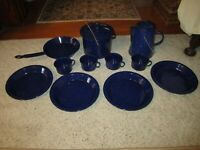 13 Piece Dark Blue White Speckled Enamelware Camping Dishes!!!!