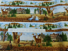Before The Forest Deer Border Print Fabric  Wilmington Prints 100% Cotton
