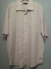 Shirt Mens Formal Short Sleeved Shirt White With Purple Check  F & F 17in Collar