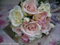 Artificial Cream and Pink Rose Posy,Bouquet,Bunch Silk Flowers Vintage Wedding
