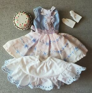 VTG #1919 Happy Birthday 1965 Skipper Doll Outfit Cake Petticoat Dress Gloves