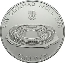 5 000 Won 1987 - Korea - Olympische Spiele in Seoul - Stadion - 1/2 oz Ag