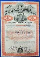 $500 State of Louisiana Bond signed by 2 Governors