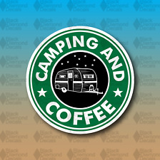 """Camping and Coffee Outdoors Travel Trailer 5"""" Custom Vinyl Decal Sticker JDM"""