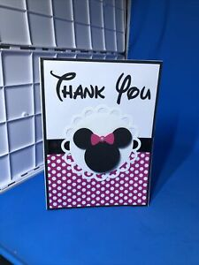 Disney Inspired Minnie Mouse Thank You Cards Set of 12 w/envelope Handmade Pink