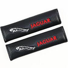 2x Carbon Fiber Car Seat Belt Shoulder Cover Pad Fit For Jaguar Embroidery Logo