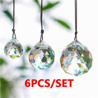 6pcs Clear Glass Crystal Chandelier Ball Prisms Drops Home Decor Pendant 30mm