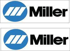 Pair (2) Miller Welding decal/sticker Logo blue and white 1x3 p165