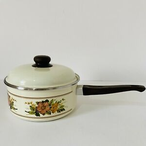 Vintage Retro 70's Enamel Brown Floral Design Saucepan & Lid Kitchen Cottagecore
