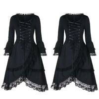 Women Halloween Gothic Laceup Dress Medieval Witch Fancy Party Costume Plus Size