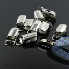 20 Pcs LEAD FREE Metal Round Plastic Insert Suspender Pacifier Clips Holder DIY