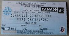 Ticket Billet Match Football Marseille OM / Berri Chateauroux . 20/09/1997