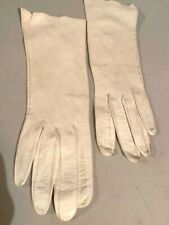 "Vintage White Leather Gloves 11 1/2"" Made In Italy"