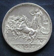 MONETA COIN REGNO ITALIA RE VITTORIO EMANUELE III° LIRE 2 (QUADRIGA BRIOSA) 1917