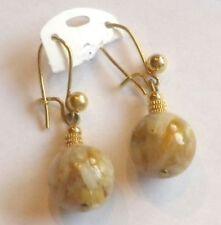 boucles d'oreilles bijou percées vintage couleur or perle agathe marbré * 3563