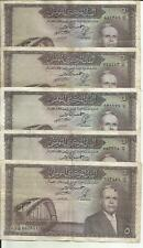 TUNISIA LOT 5x 5 DINARS 1958  P 59. F CONDITION. 4RW 11ABRIL