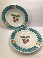 2 TABLETOPS UNLIMITED ''ITALIAN FRUIT'' CEREAL BOWLS  9 1/4'' WITH CHERRY CENTER