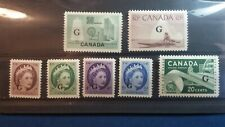 "Canada mnh #'s 038-045 ""G"" Overprint, Definitives XF CV 22.50"