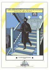 Affiche Sérigraphie Jacobs Blake et Mortimer Marque Jaune Escalier 35x50